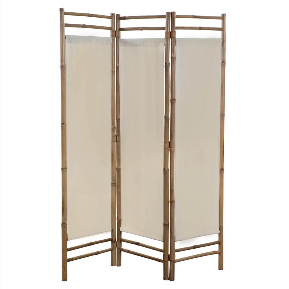 Cloison pliante à 3 panneaux en bambou et toile 120 cm