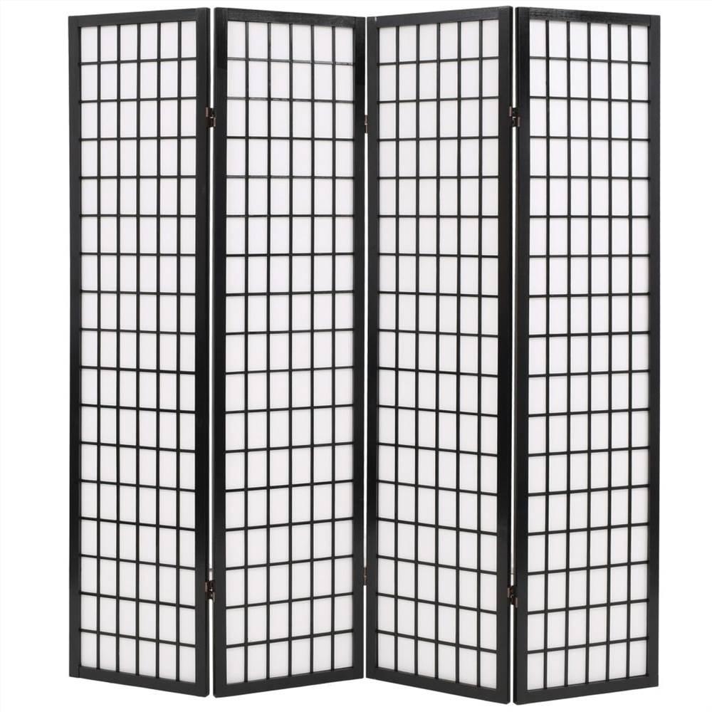 Cloison pliante à 4 panneaux style japonais 160x170 cm noir