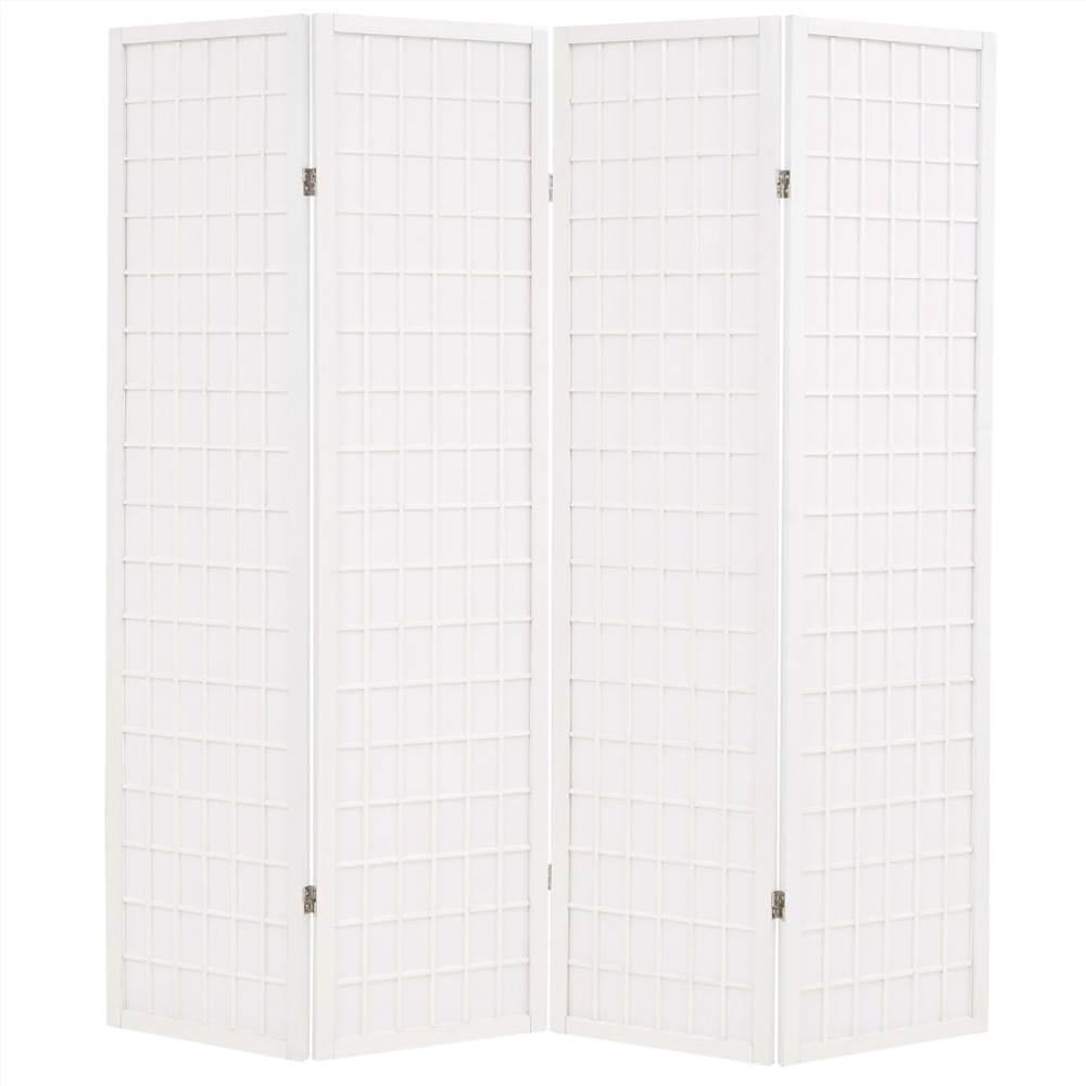 Cloison pliante à 4 panneaux Style japonais 160x170 cm Blanc