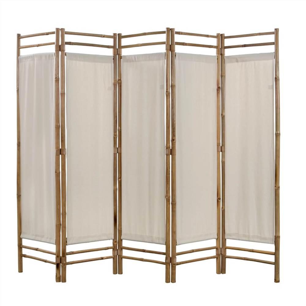 Cloison pliante à 5 panneaux en bambou et toile 200 cm