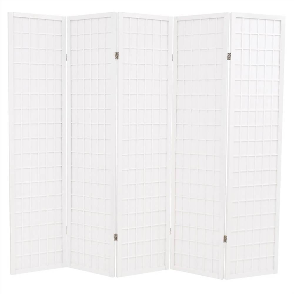 Cloison pliante à 5 panneaux Style japonais 200x170 cm Blanc