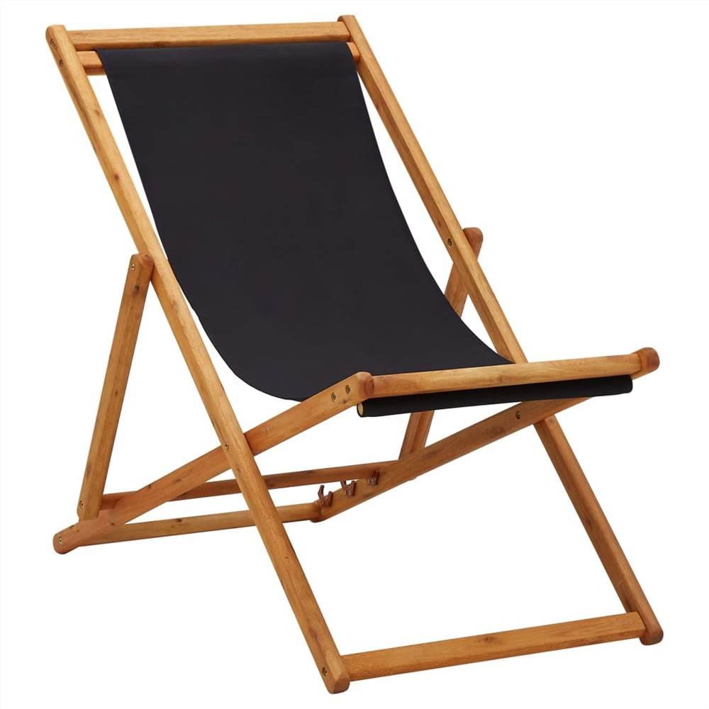 Chaise de plage pliante en bois d'eucalyptus et tissu noir