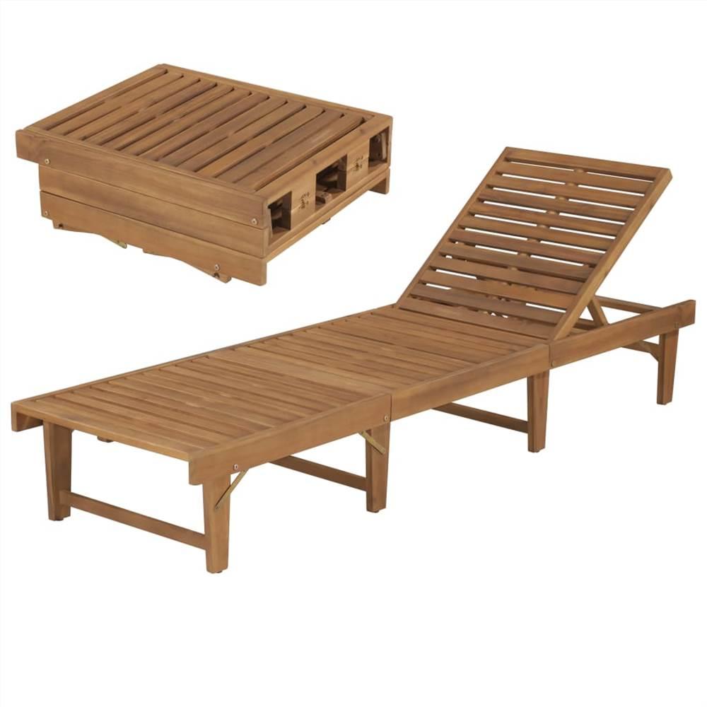 Chaise longue pliante en bois d'acacia massif