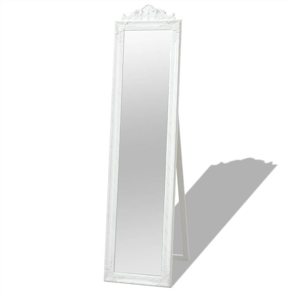 Specchio da terra in stile barocco 160x40 cm bianco