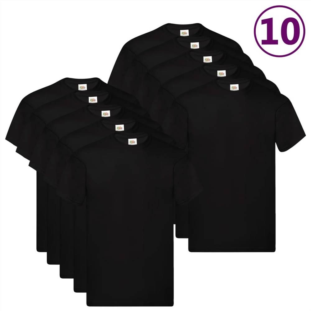 Fruit of the Loom T-shirts originaux 10 pièces Coton XXL noir