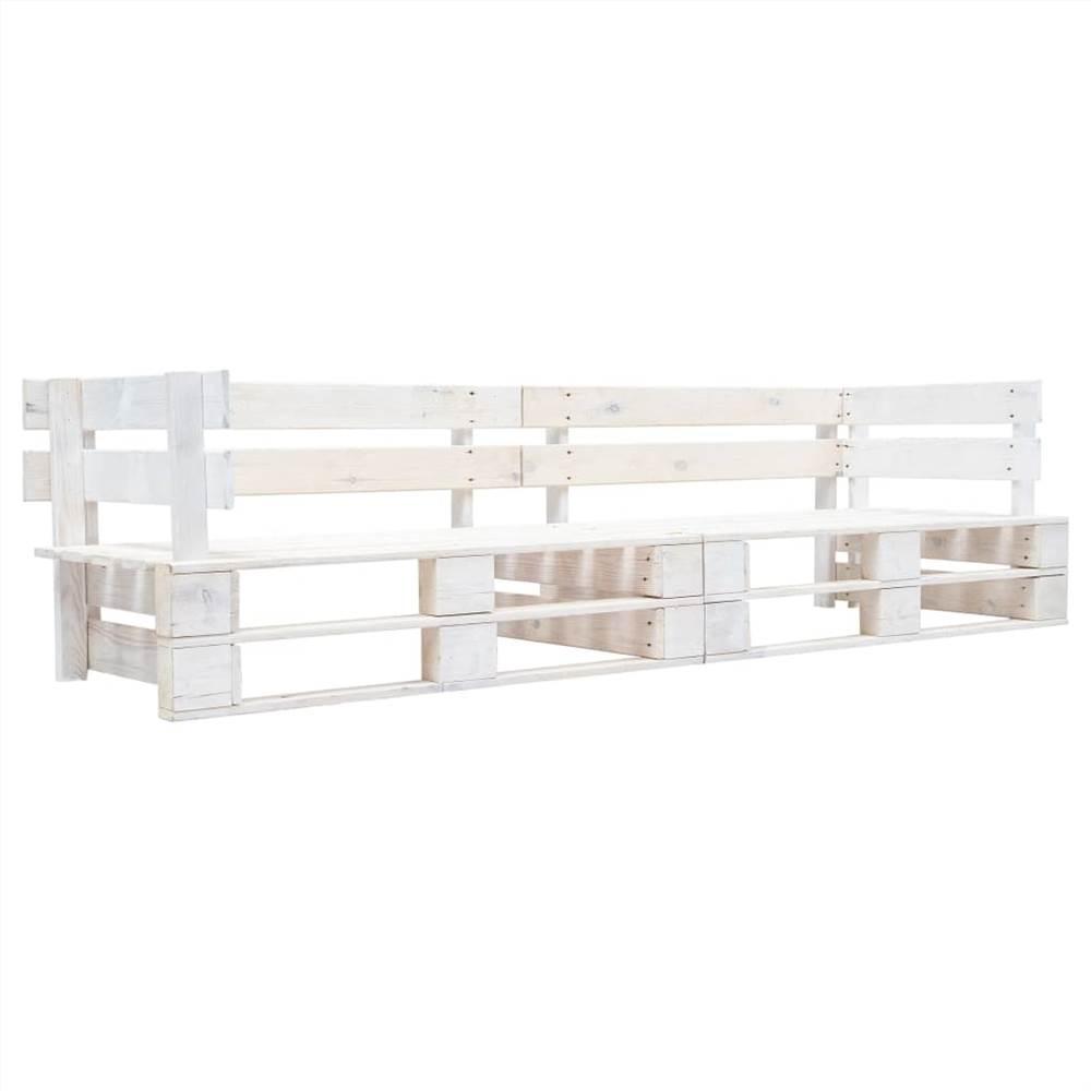 Garten 2-Sitzer Sofa Paletten Weiß Holz