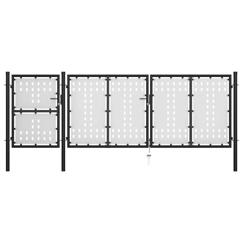 Garden Gate Steel 400x125 cm Black