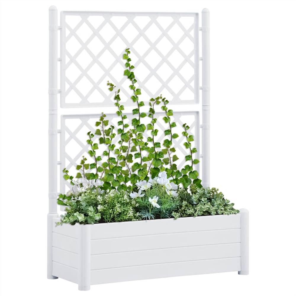 Jardinière avec treillis 100x43x142 cm PP Blanc