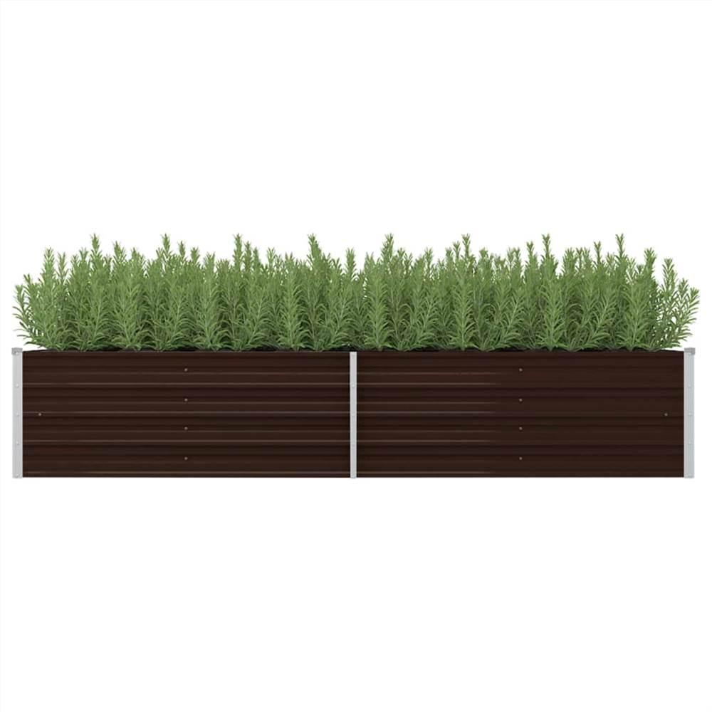 ガーデンレイズドベッドブラウン240x80x45cm亜鉛メッキ鋼
