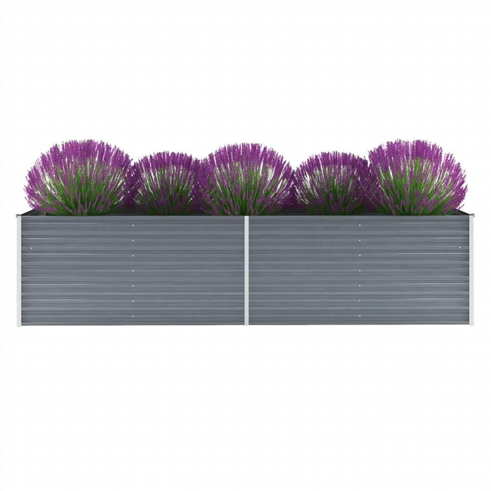 Garden Raised Bed Galvanised Steel 320x80x77 cm Grey