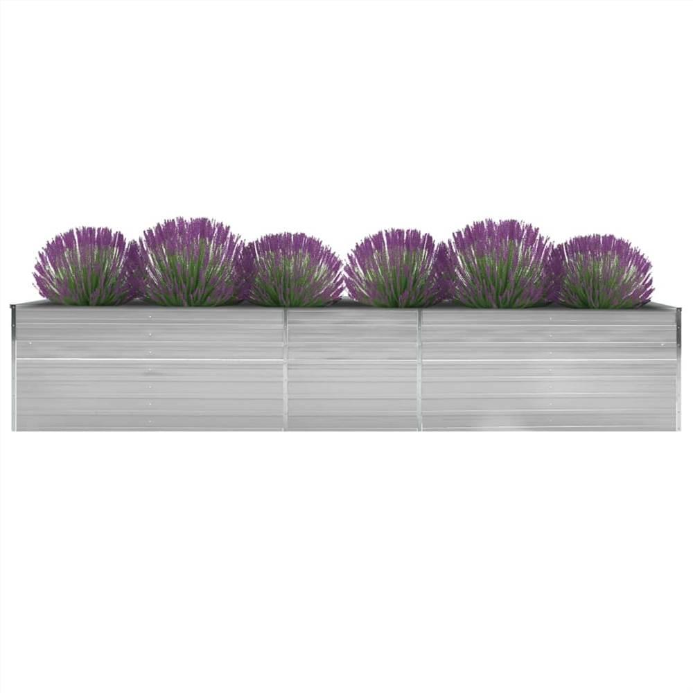 Lit de jardin surélevé Acier galvanisé 400x80x77 cm Gris