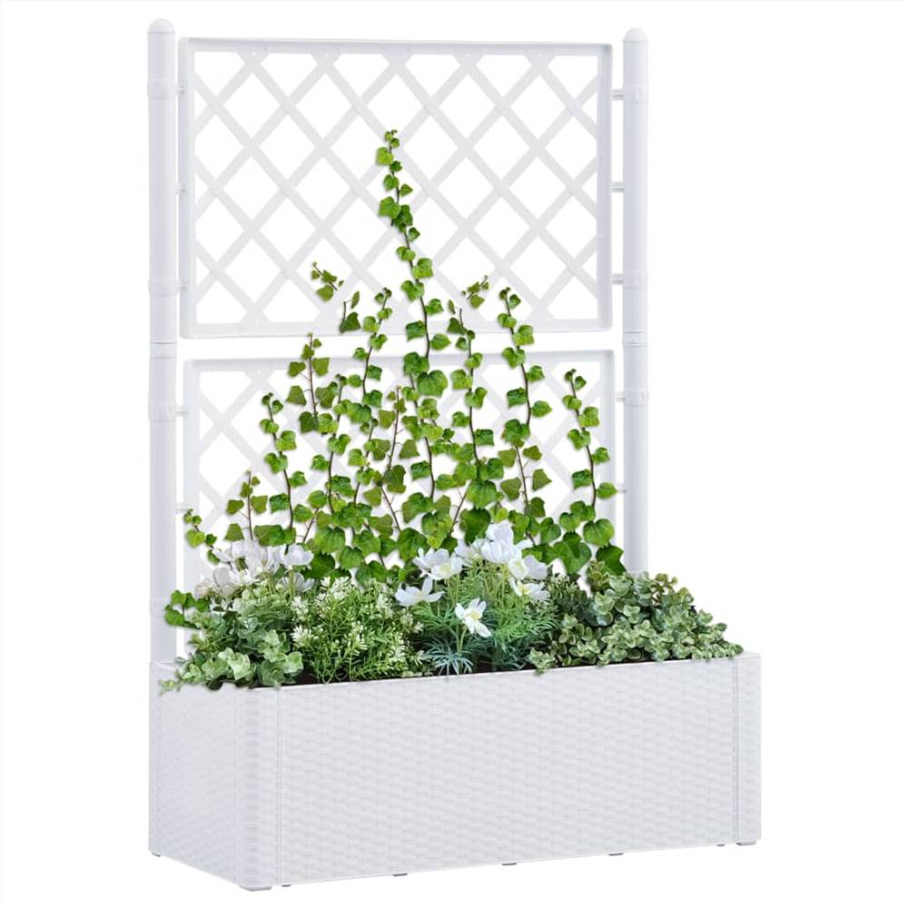 Garden Raised Bed with Trellis and Self Watering System White