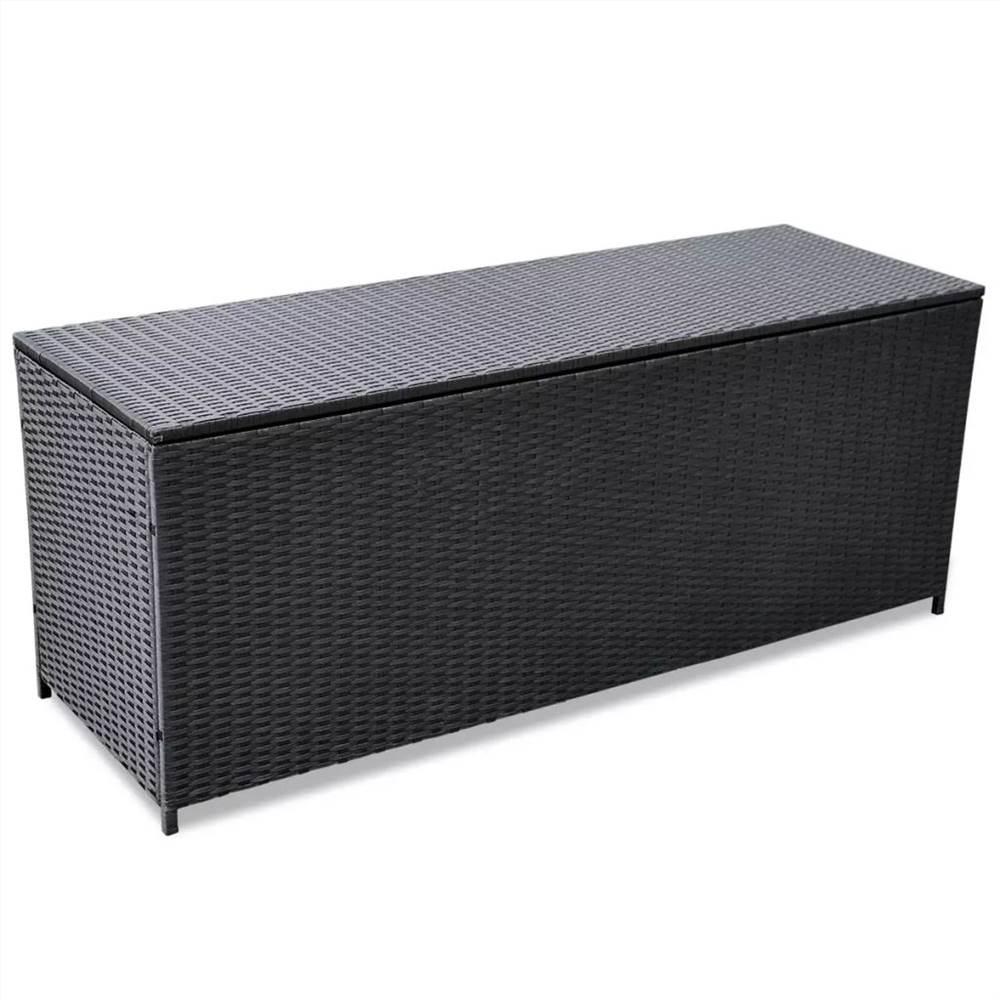 Boîte de rangement de jardin Noir 150x50x60 cm Poly Rotin