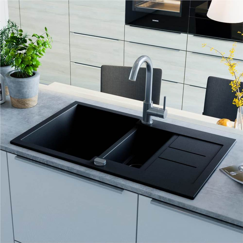 Granite Kitchen Sink Double Basin Black