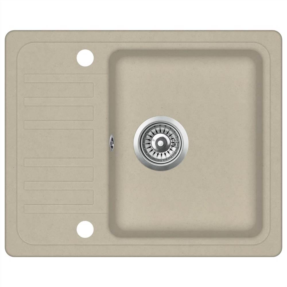 Évier de cuisine en granit simple bassin beige