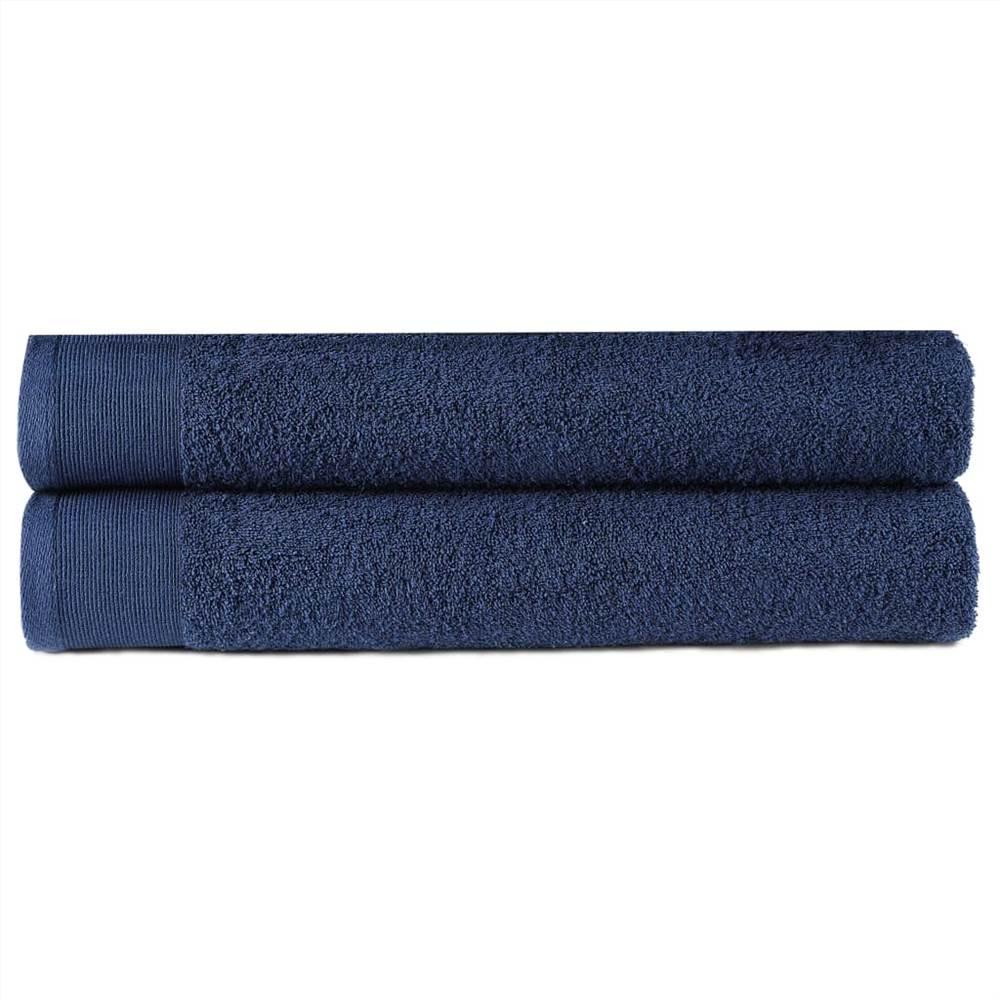 Полотенца для рук 2 шт Хлопок 450 г / м50 100xXNUMX см Темно-синий