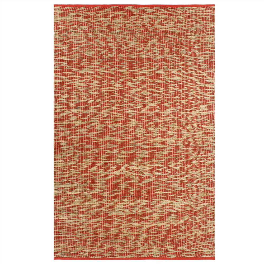 Handmade Rug Jute Red and Natural 120x180 cm