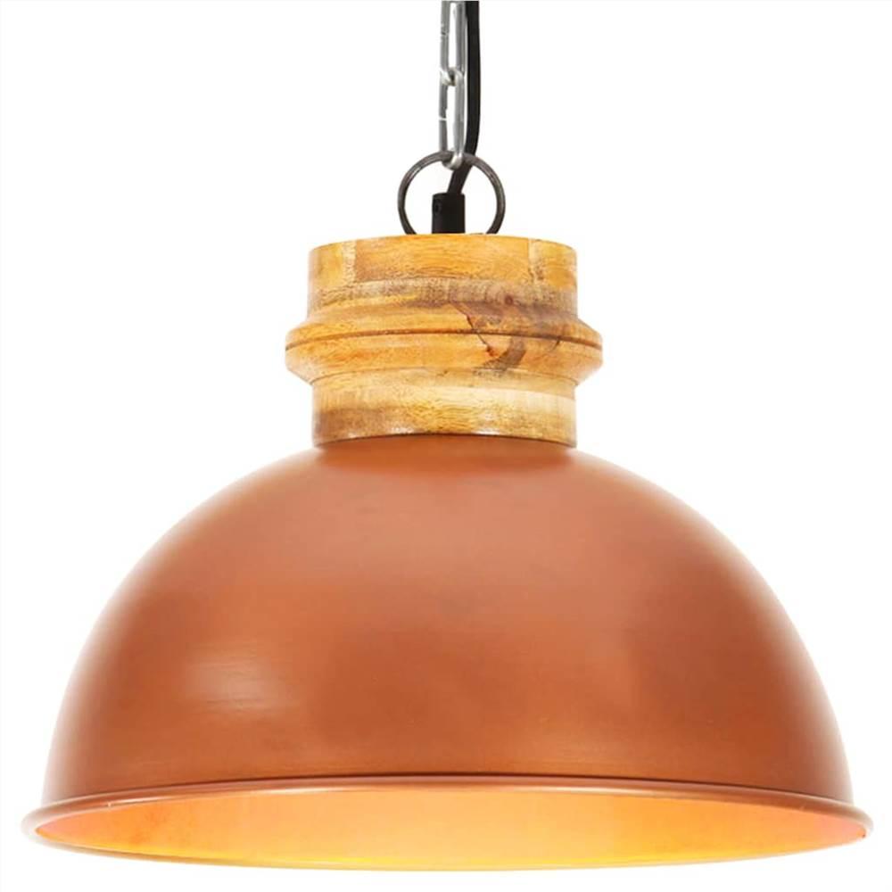 Lampada a sospensione industriale in rame rotondo 32 cm E27 in legno massello di mango