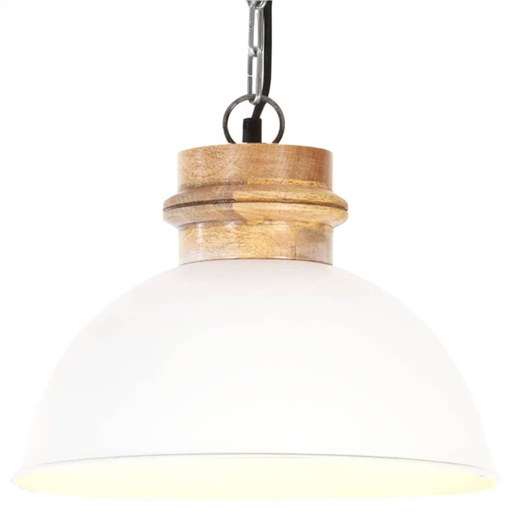 Lampada a sospensione industriale bianca rotonda 32 cm E27 in legno massello di mango
