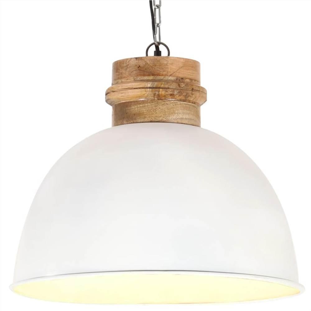 Lampe à Suspension Industrielle Blanche Ronde 50 cm E27 Bois de Manguier Massif