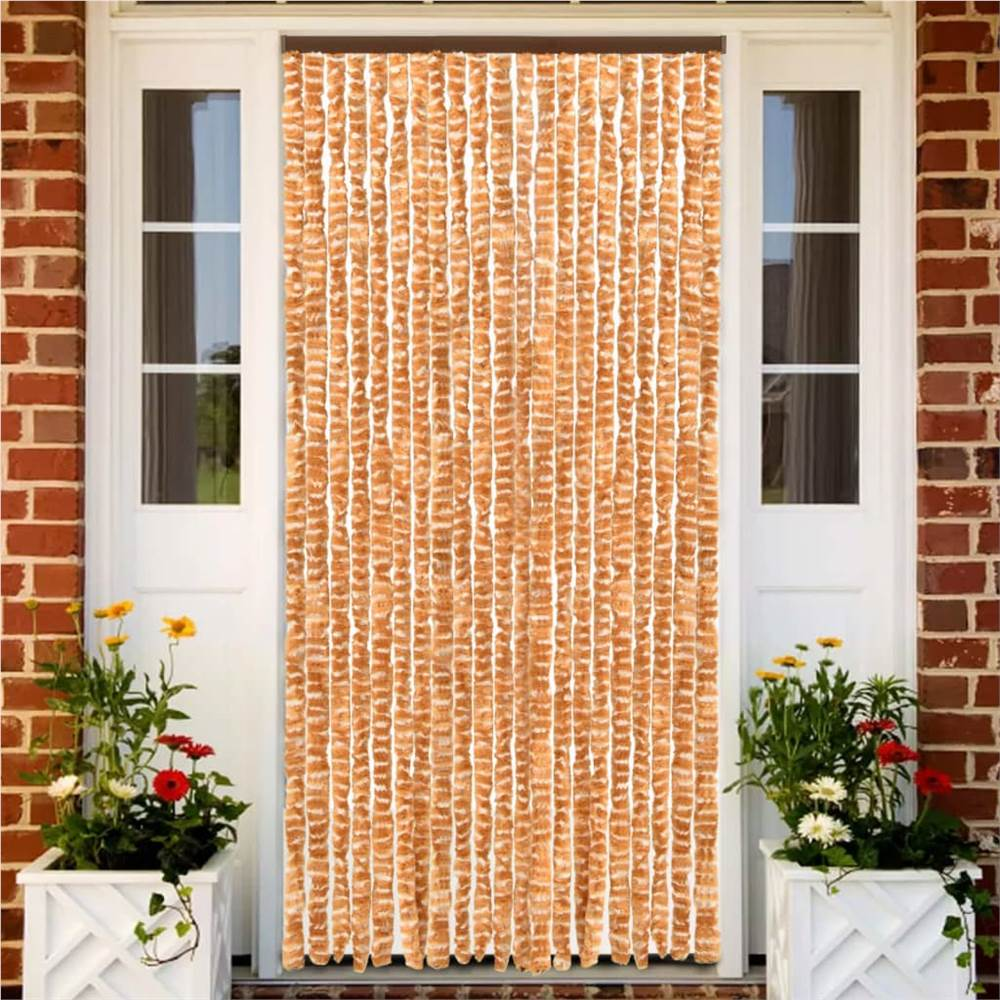 Insect Curtain Ochre and White 90x220 cm Chenille