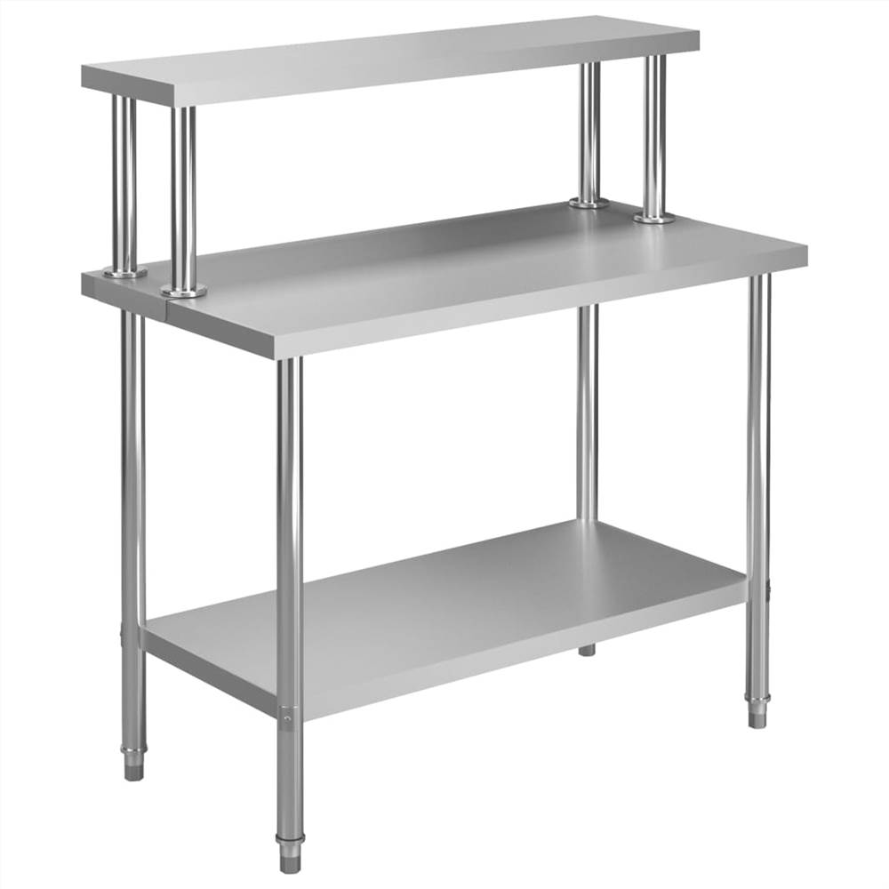 Table de travail de cuisine avec sur-étagère 120x60x120 cm Inox