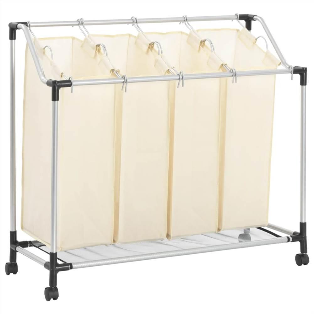 Wäschesortierer mit 4 Beuteln Cream Steel