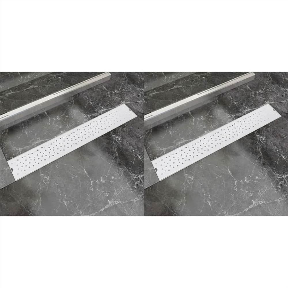 Linear Shower Drain 2 pcs Bubble 730x140 mm Stainless Steel