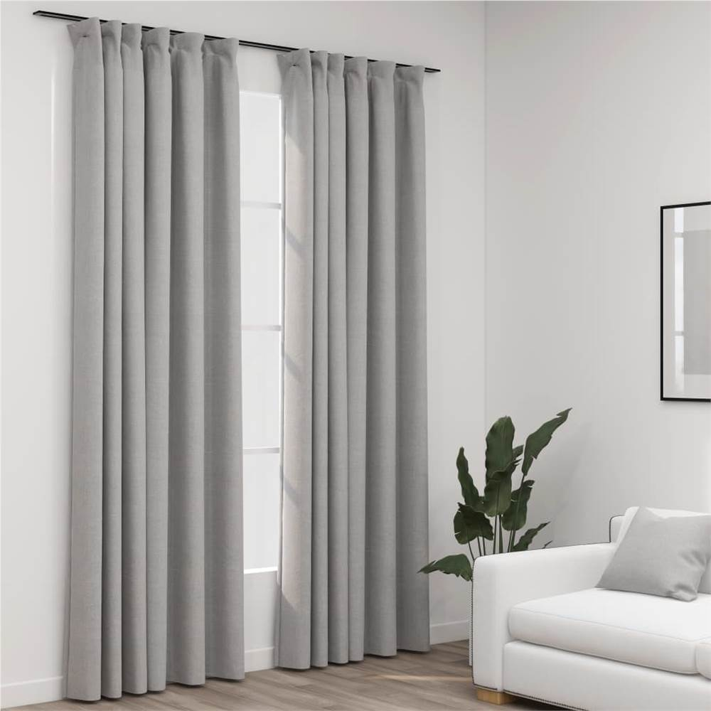 Linen-Look Blackout Curtains with Hooks 2 pcs Grey 140x225 cm