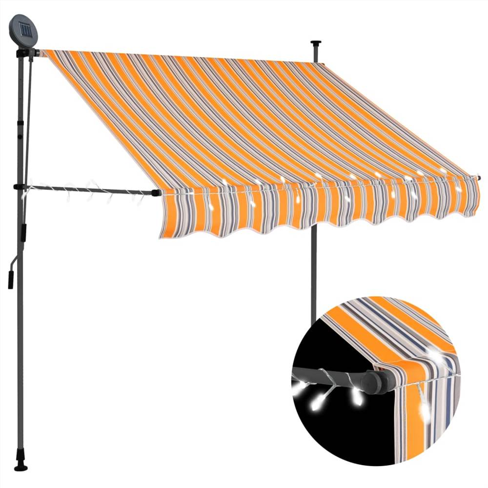 Manual Retractable Awning with LED 150 cm Yellow and Blue
