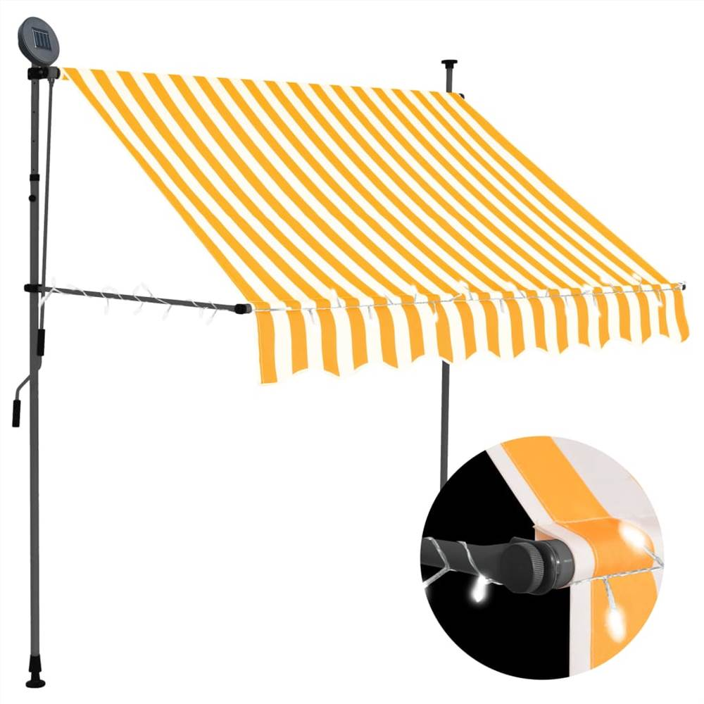 Manual Retractable Awning with LED 200 cm White and Orange