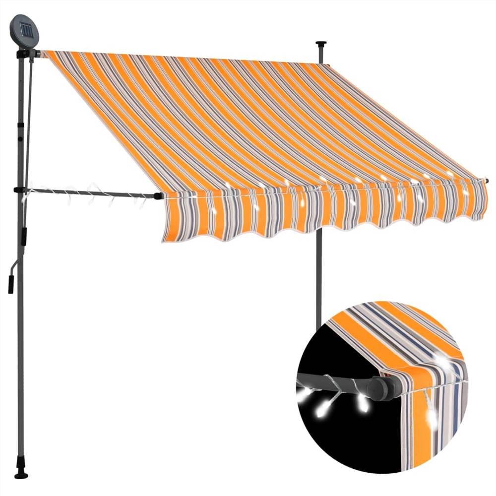 Manual Retractable Awning with LED 200 cm Yellow and Blue
