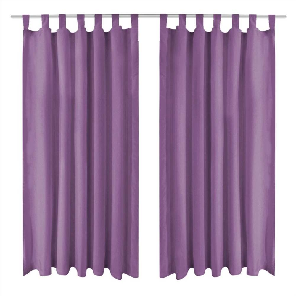 Micro-Satin Curtains 2 pcs with Loops 140x245 cm Lilac