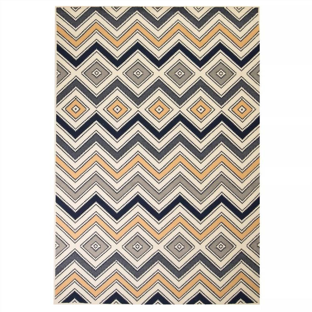 Modern Rug Zigzag Design 80x150 cm Brown/Black/Blue