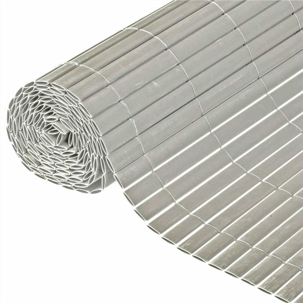 Nature Double Sided Garden Screen PVC 1x3m Grey