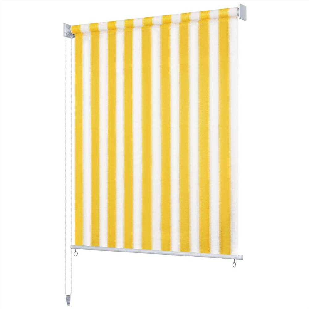 Outdoor Roller Blind 300x230 cm Yellow and White Stripe