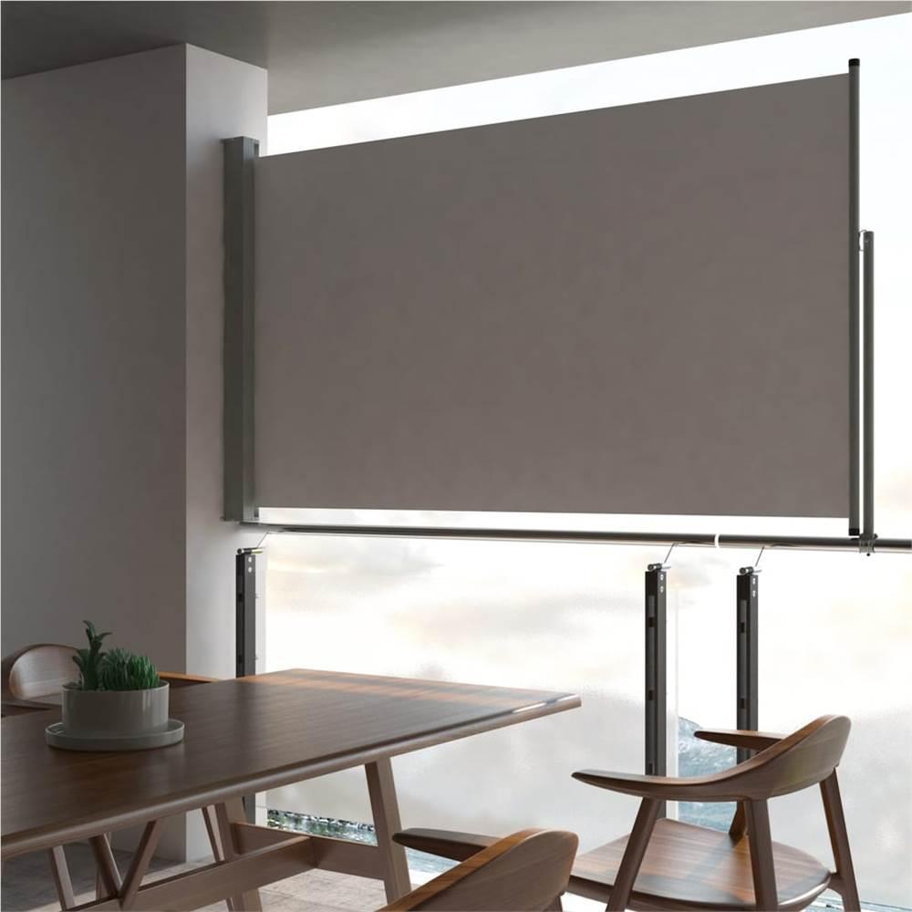 Auvent Latéral Rétractable Patio 140 x 300 cm Gris