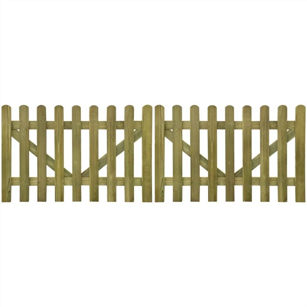 Picket Fence Gate 2 pcs Impregnated Wood 300x100 cm