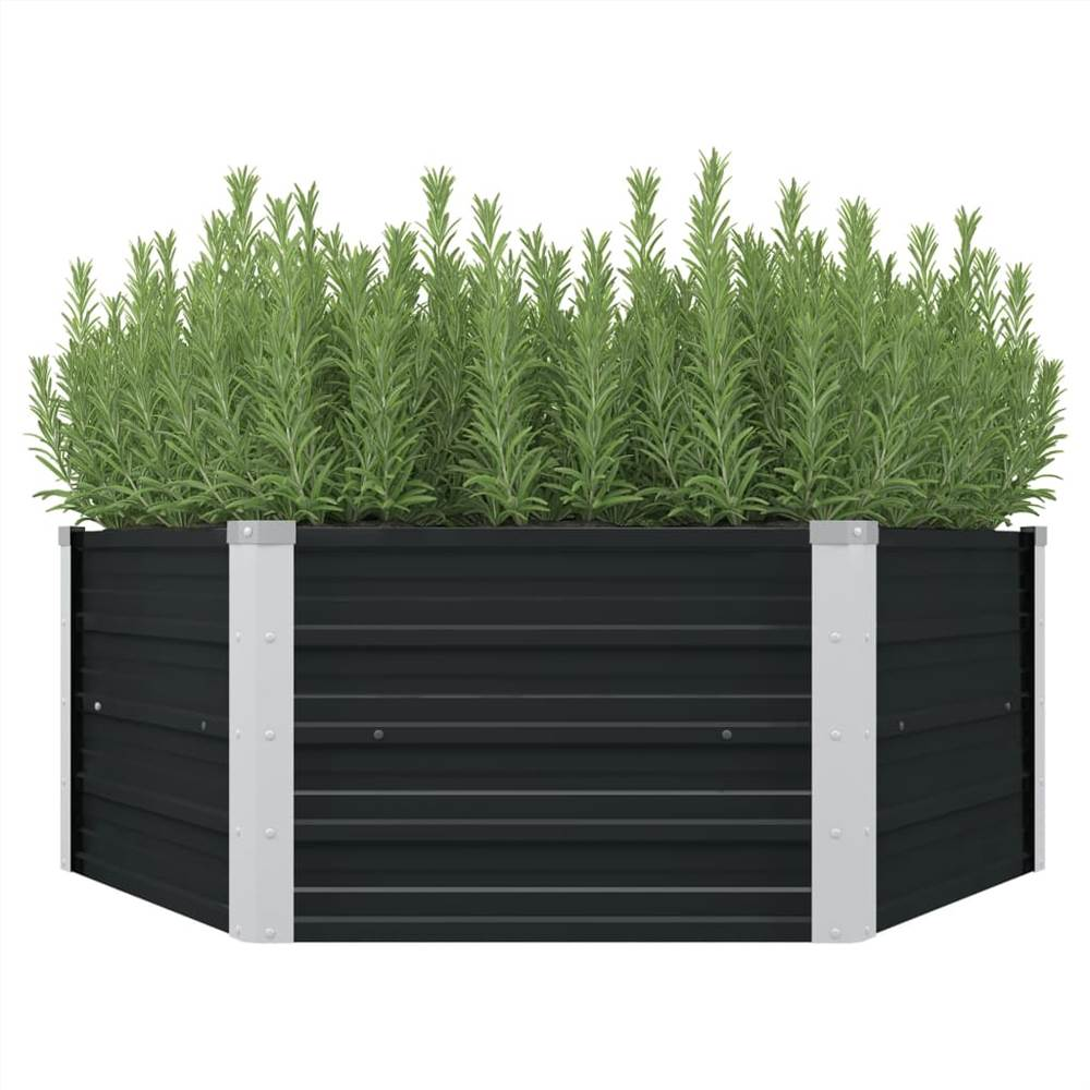 上げられた庭のベッド無煙炭129x129x45cm亜鉛メッキ鋼