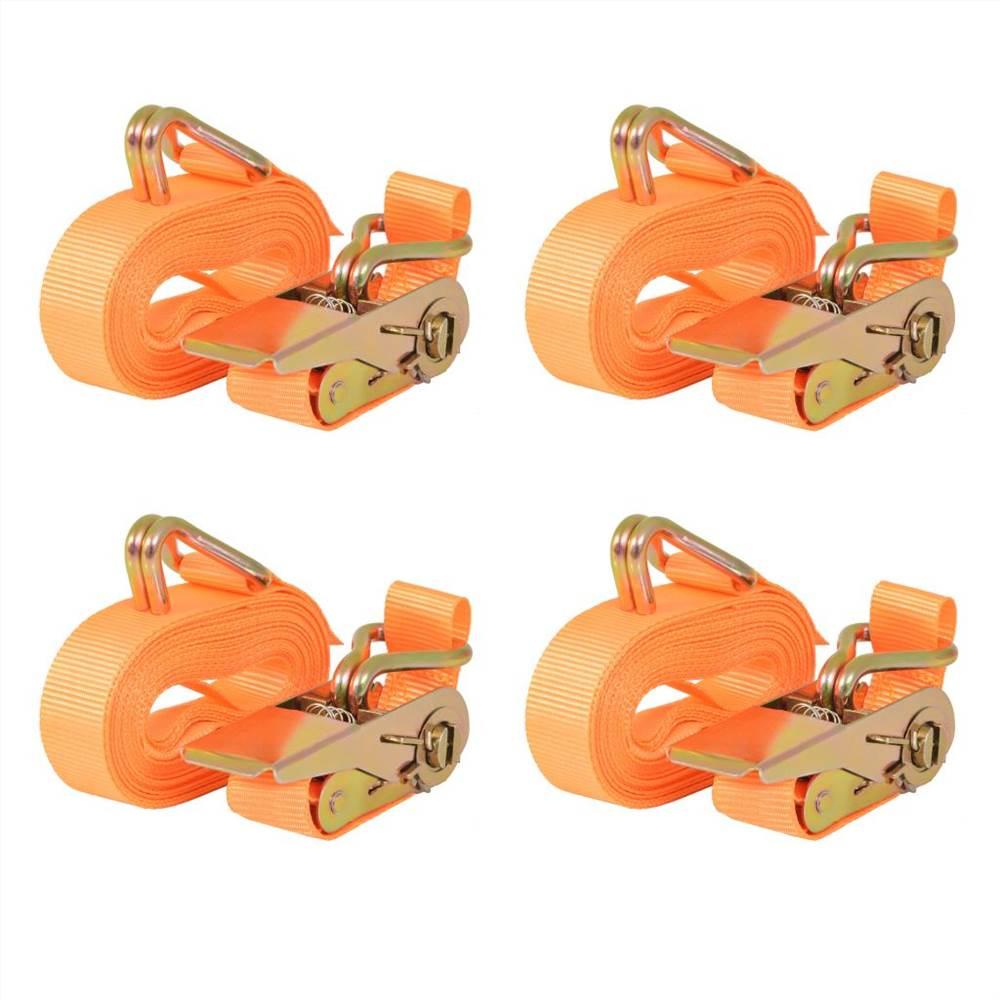 Ratchet Tie Down Straps 4 pcs 0.4 Tonnes 6mx25mm Orange