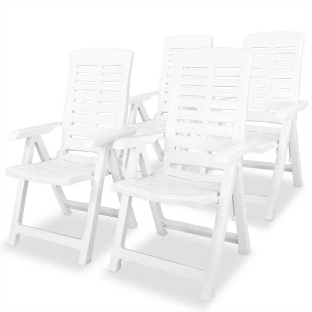 Sedie da giardino reclinabili 4 pz in plastica bianca