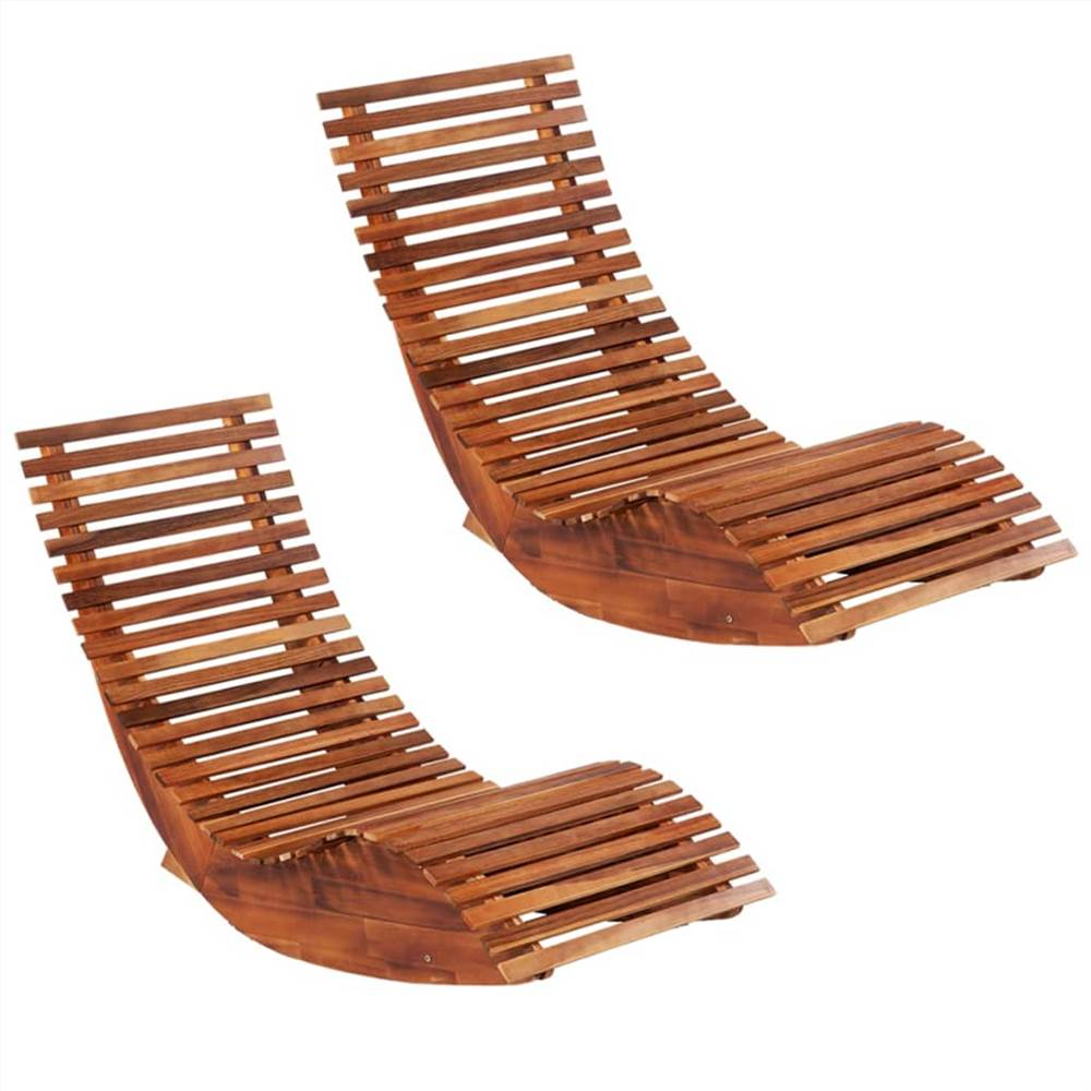 Chaises longues à bascule 2 pièces Bois d'acacia
