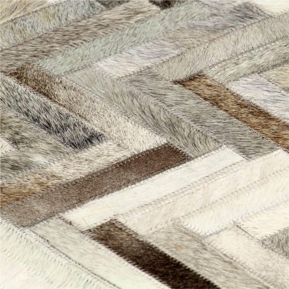 Tappeto Patchwork in vera pelle per capelli 120x170 cm Grigio / Bianco