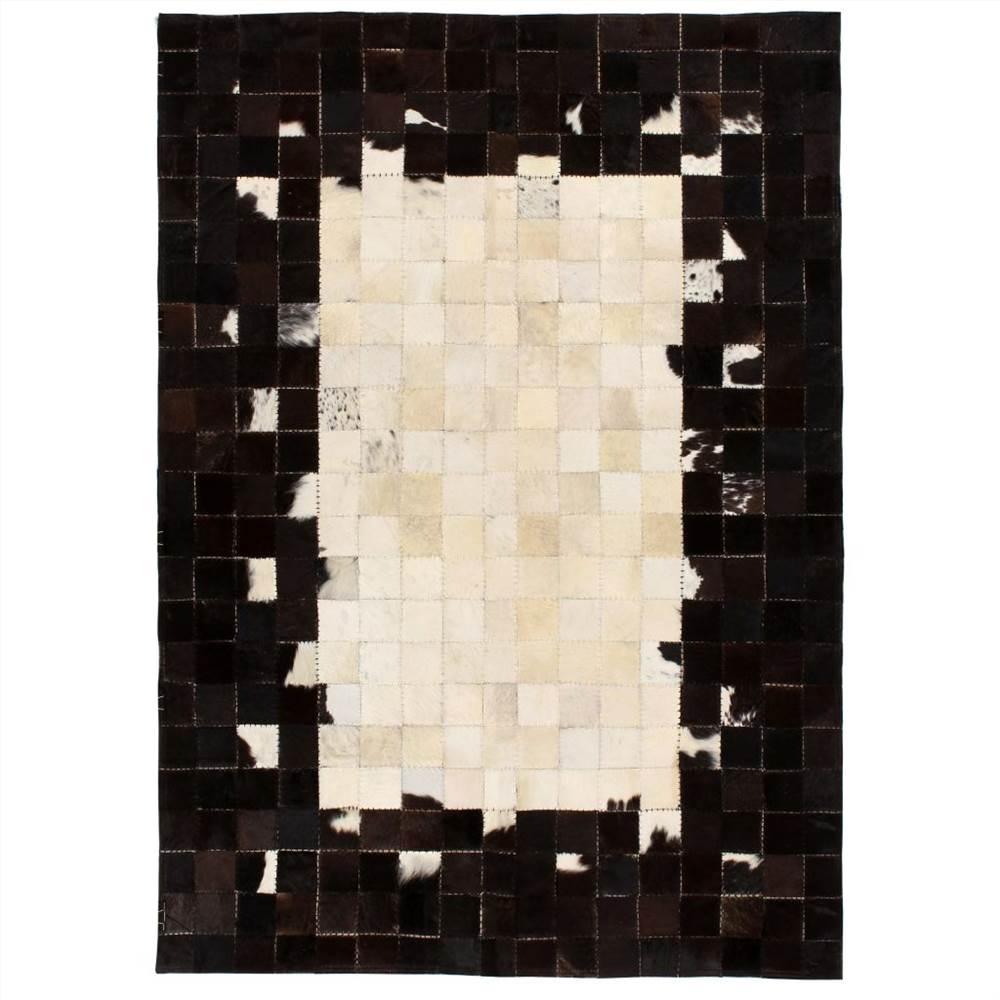 Rug Genuine Leather Patchwork 160x230 cm Square Black/White