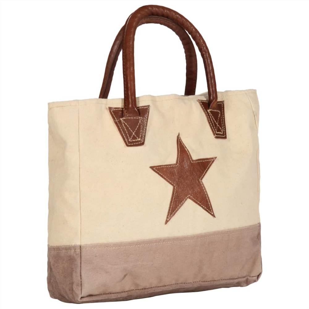 Shopper Bag Μπεζ 32x10x37.5 cm καμβάς και πραγματικό δέρμα