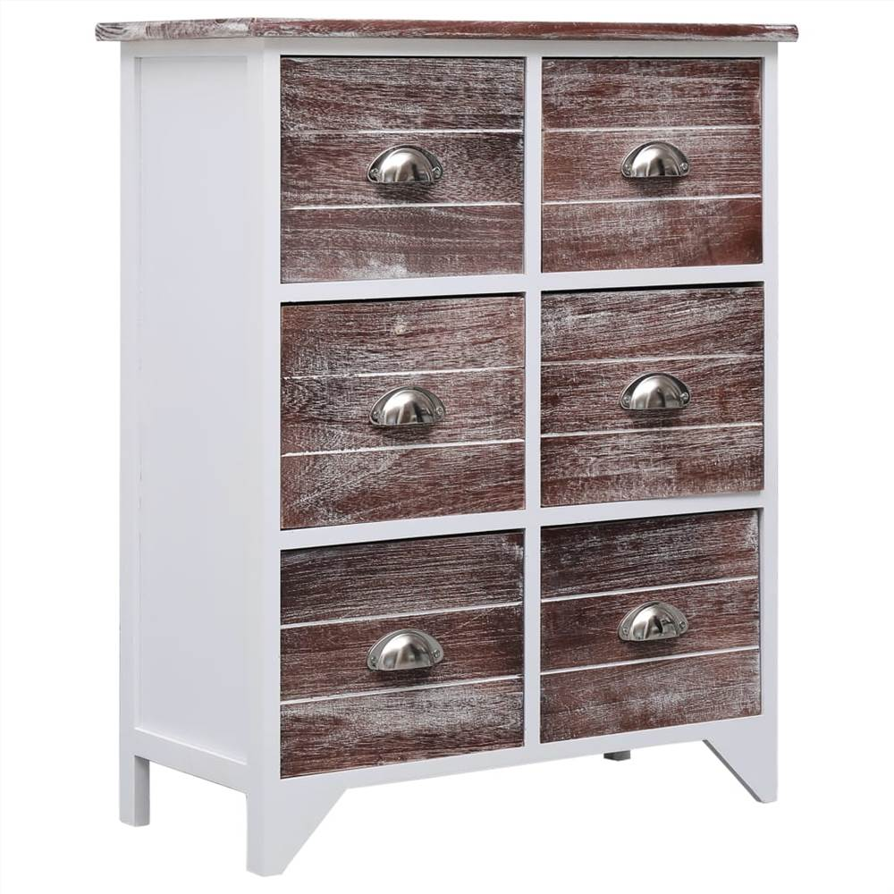 Side Cabinet with 6 Drawers Brown 60x30x75 cm Paulownia Wood  - buy with discount