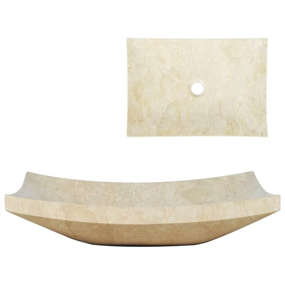 Waschbecken 50x35x12 cm Marmorcreme