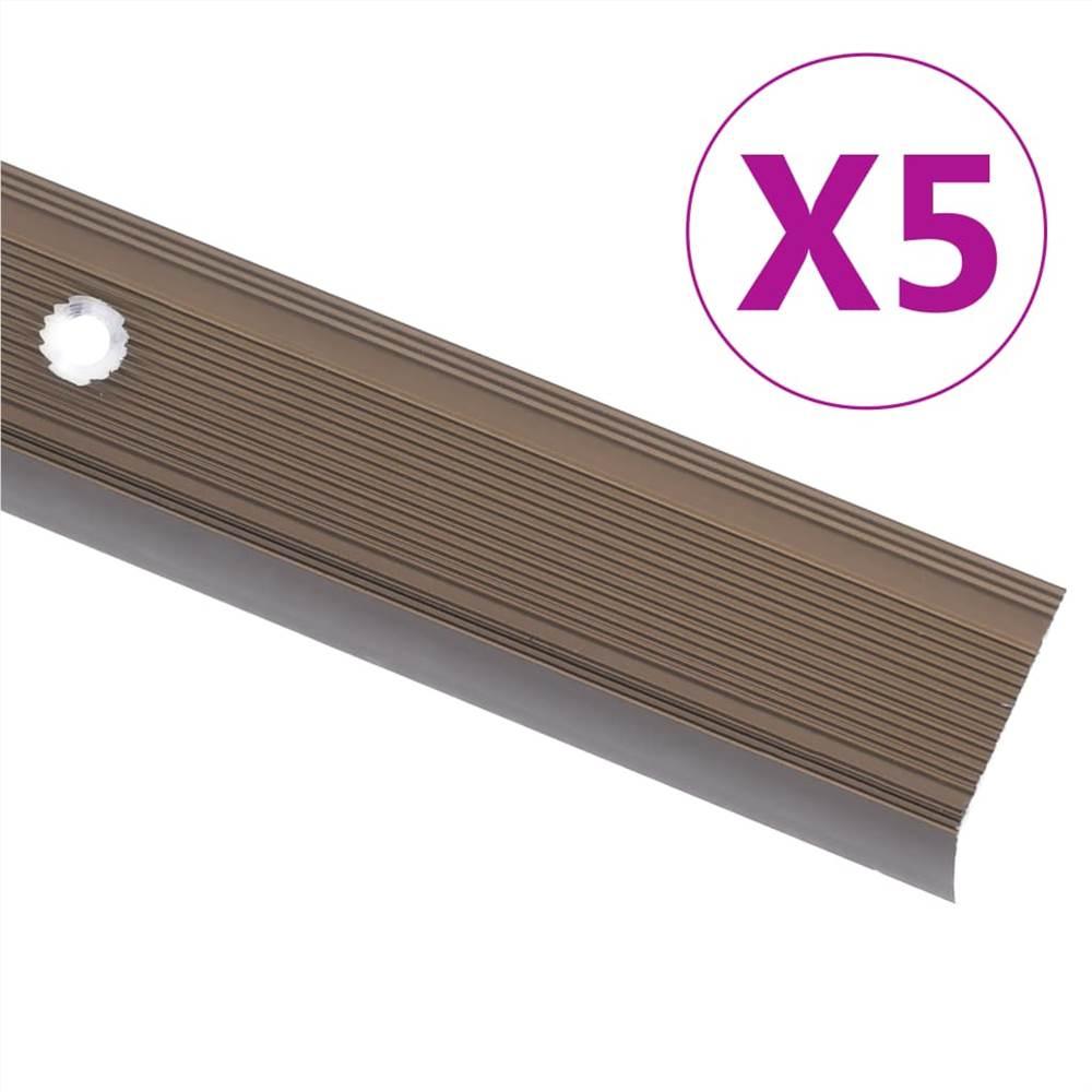 Nez de marche en forme de L 5 pcs Aluminium 90 cm Marron