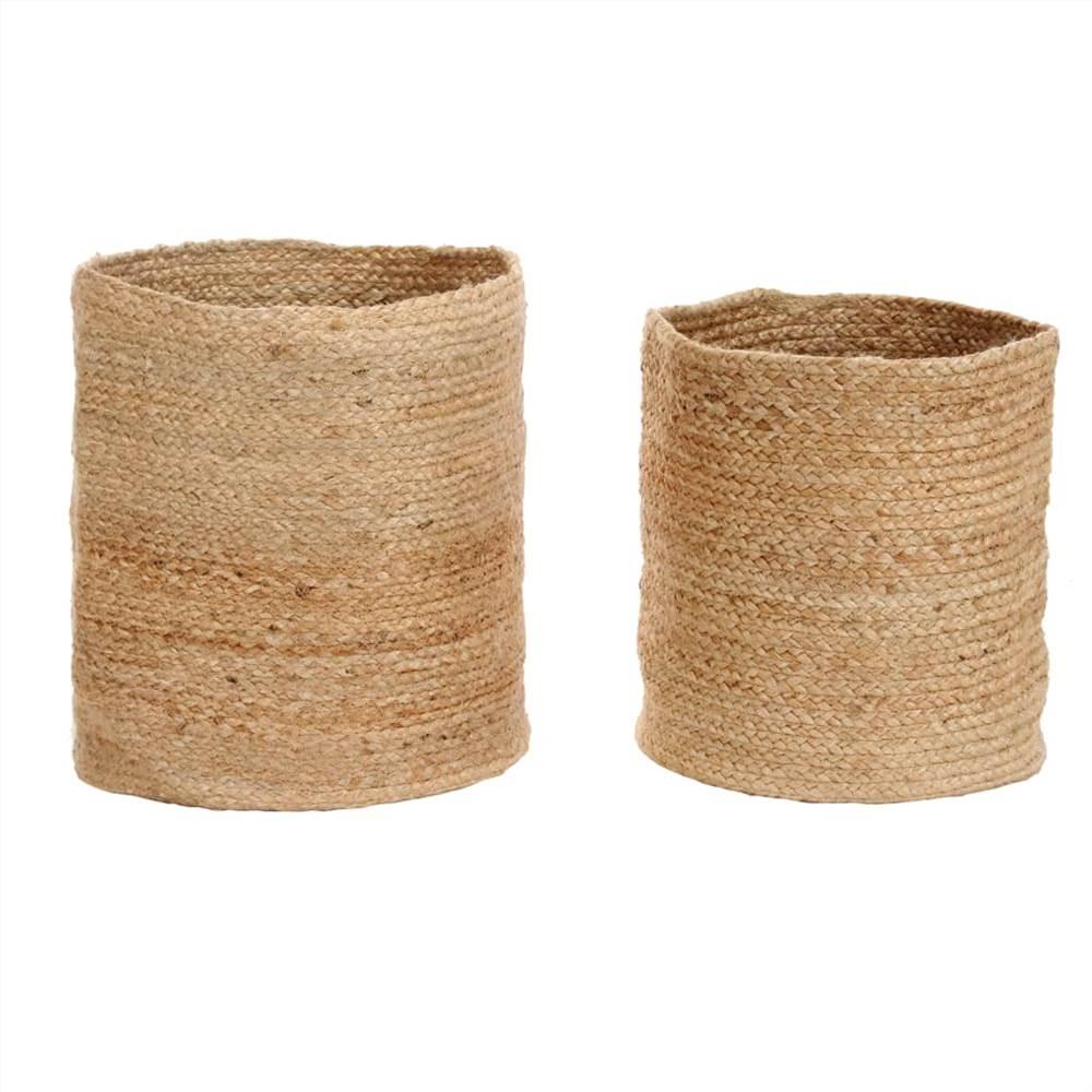 Conjunto de cesta de armazenamento 2 peças de juta natural artesanal