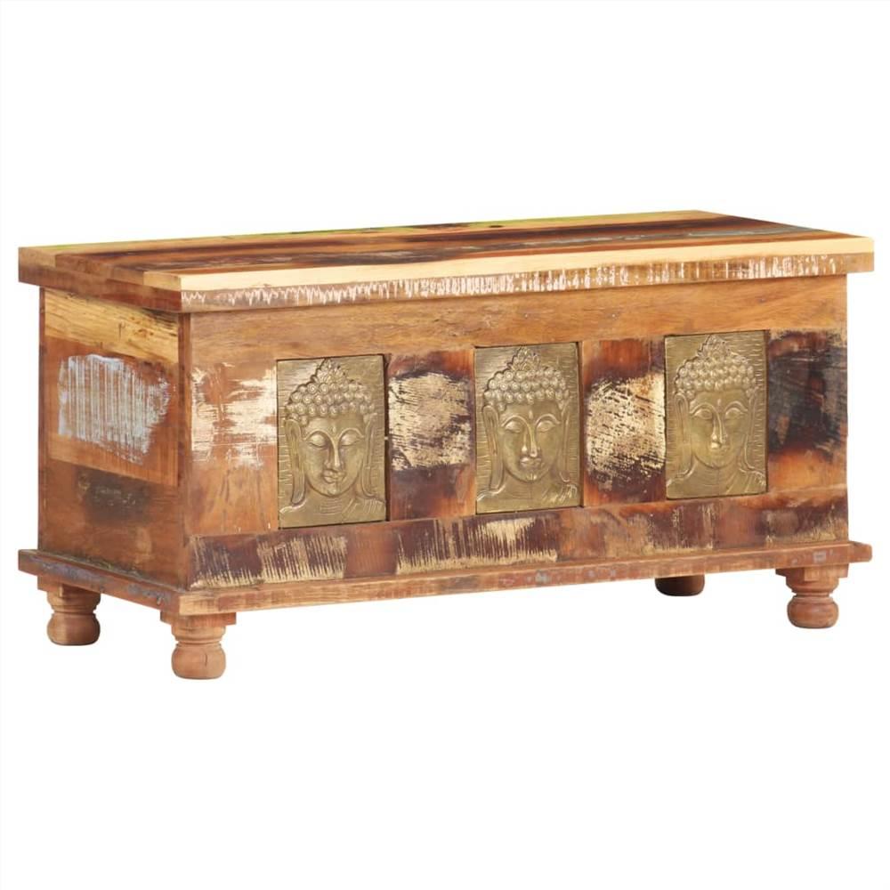 ブッダクラッディング付き収納ボックス90x35x45cm再生木材